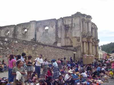 Cloth market in front of church ruins, Antigua Guatemala