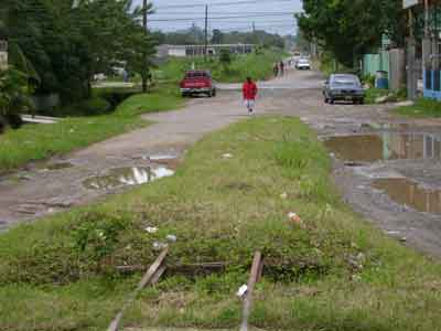End of track in La Ceiba suburb